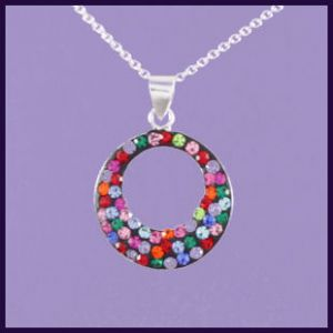 Multi-coloured Swarovski Crystal Disc with Offset Hole